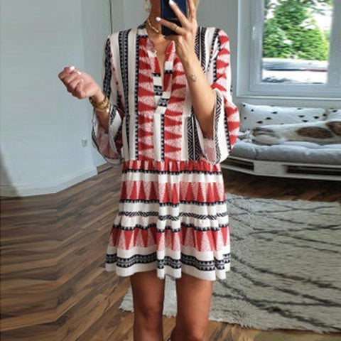 Casual V-Neck Print Stitching Dress