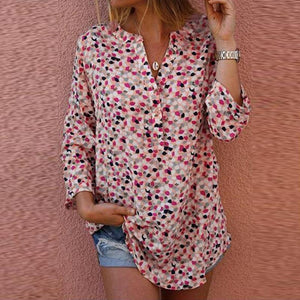 Casual Long Sleeve V-Neck Button Top Shirt