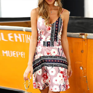 Sexy Sling Printed Slim Sleeveless Dresses