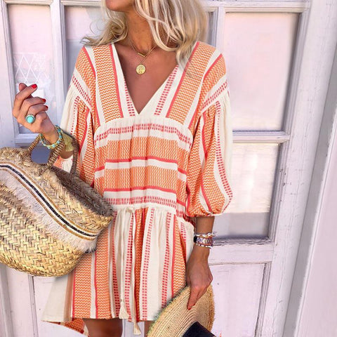 Fashion V-Neck Irregular Striped Printed Puff Sleeve Dresses