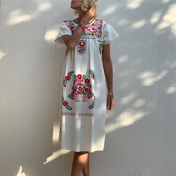 Fashion Round Neck Printed Short Sleeve Dresses