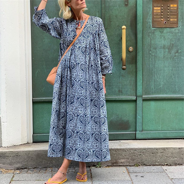Bohemian Printed Round Neck Long Sleeve Dresses