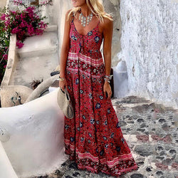 Bohemian V Neck Sleeveless Printed Color Dress
