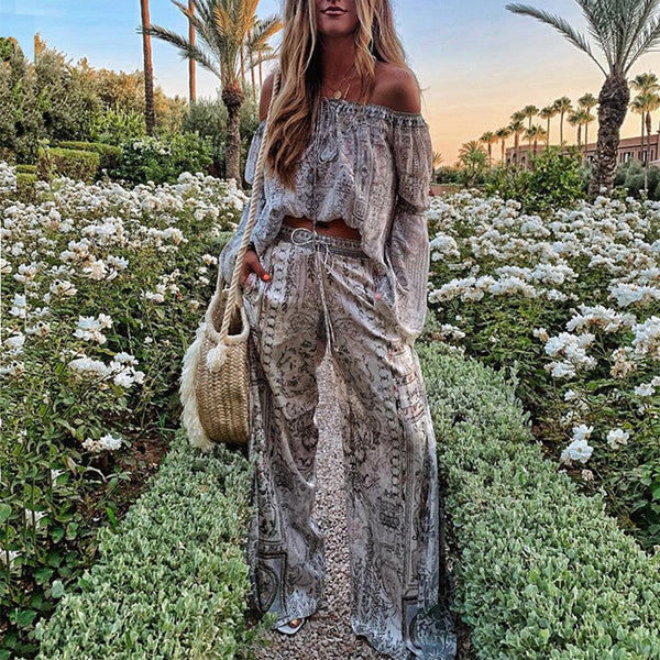 Bohemian Boat Neck Long Sleeve Off-Shoulder Suit