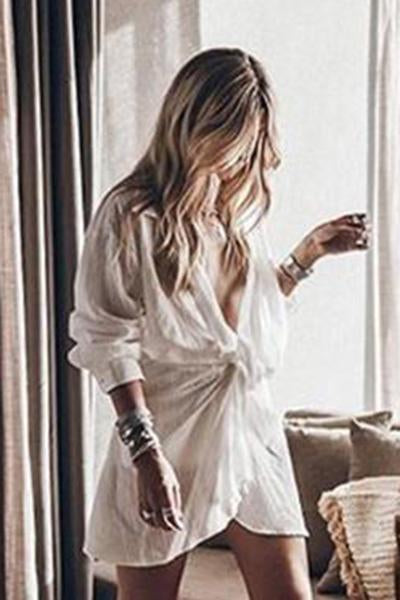 Women's V-Neck Long Sleeve Loose White Shirt