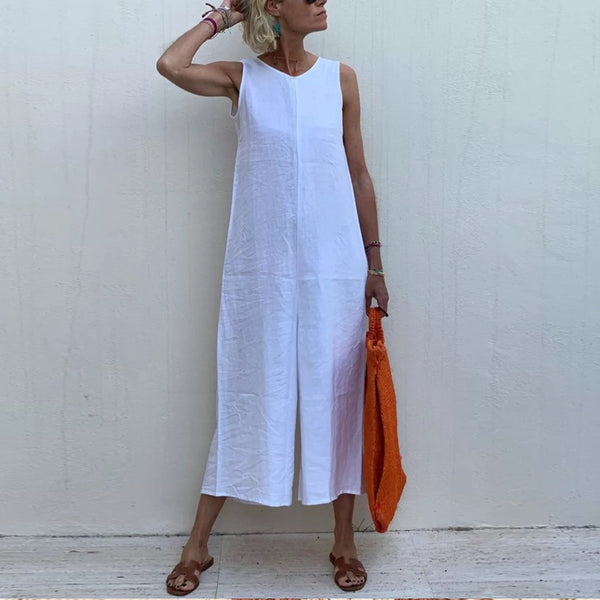 Simple Round Neck Sleeveless Split Dress