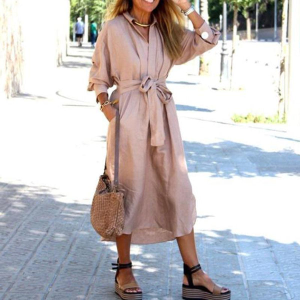 Classic Belted Lapel V Neck Bishop Sleeve Pure Colour Dress