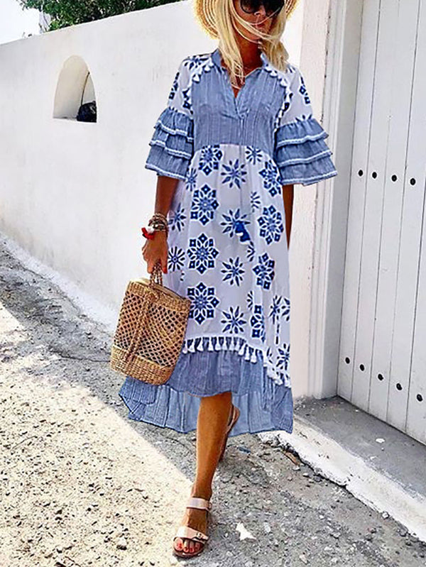 Women's Bohemian Printed Flare Sleeve Dress