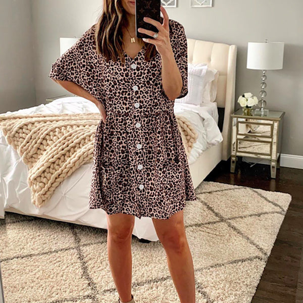 Modern Loose V Neck Halflong Sleeve Leopard Print Dress