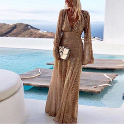 Fashion Deep V-Neck Long Sleeve High Slit Dress