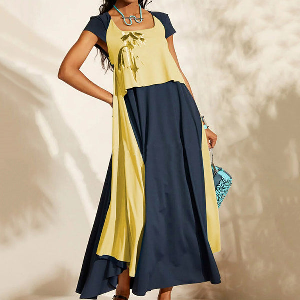 Daily Bohemian Inwrought Square-Cut Collar Ankle-Length Dress