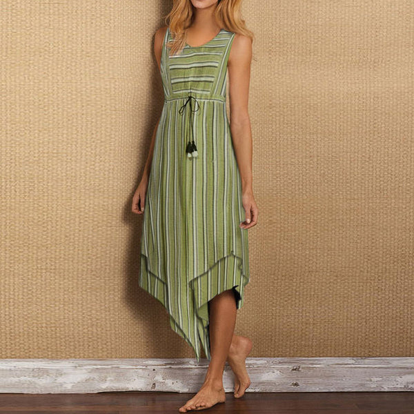 Casual Round Neck Sleeveless Striped Irregular Dress
