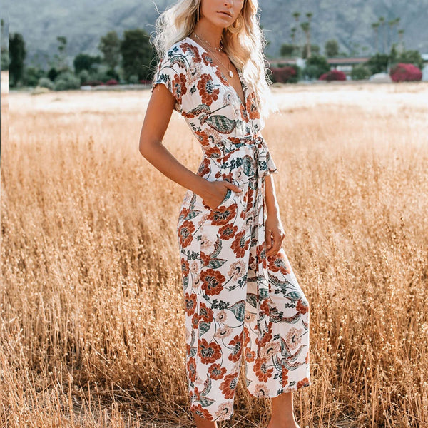 Casual V-Neck Short-Sleeved Printed Jumpsuit