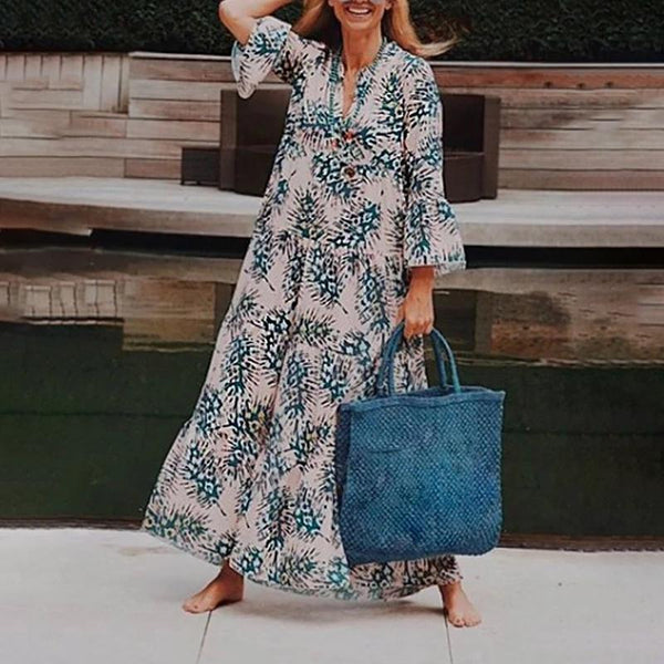 Casual Printed Colour V Neck Long Sleeve Vacation Maxi Dress