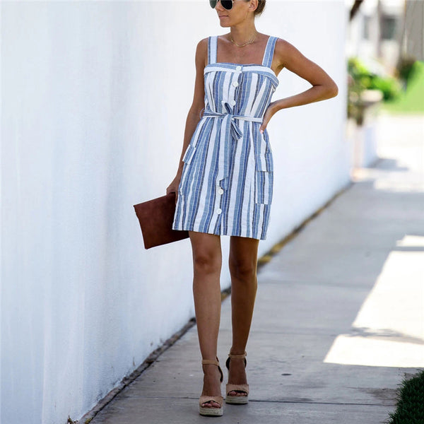 Casual Striped Spaghetti Strap Dress