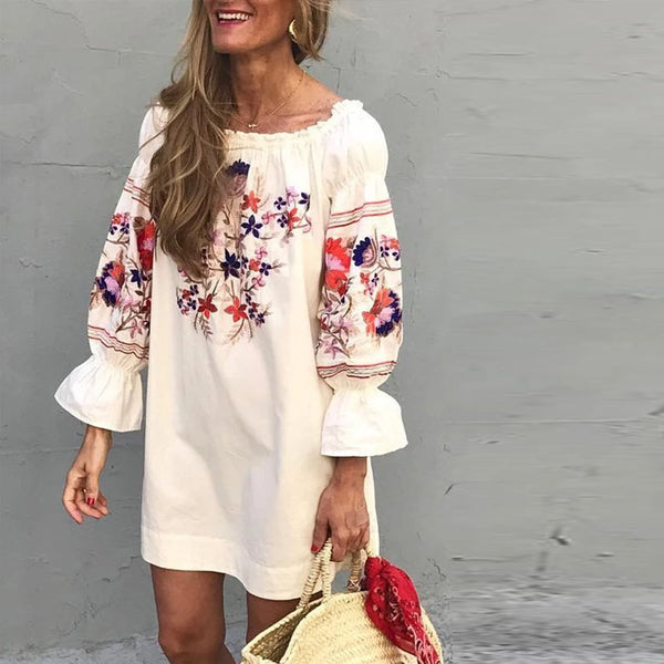 Bohemian Word Collar Puff Sleeve Print Mini Dress