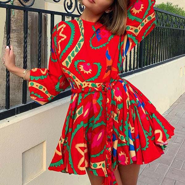 Cute Round Neck Printed Color Short Sleeve Dress