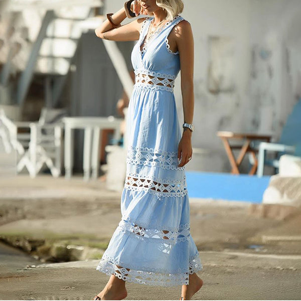 Casual V Neck Pure Colour Sleeveless Lace Dress