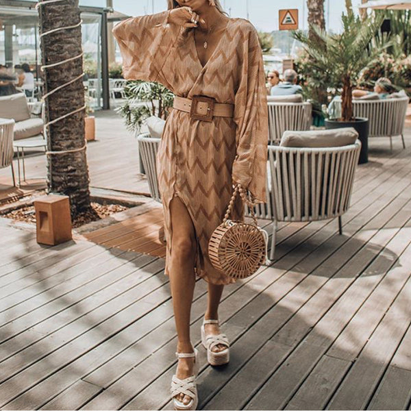 European And American Style Long Sleeve Printed Color V Neck Dress