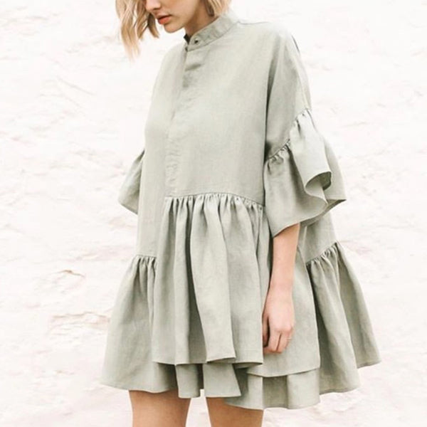 Brief Irregular Hem Ruffles Short High Collar Dress