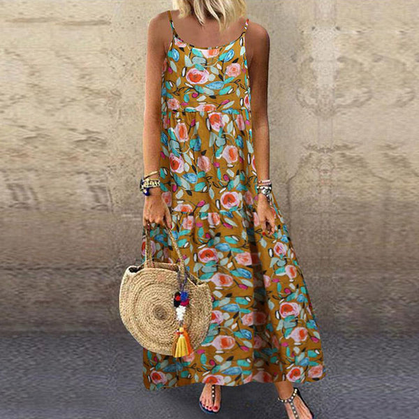 Women's Bohemian Printed Color Off-Shoulder Sling Dress