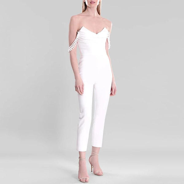 Women's Elegant Pure Color V Neck High-Waist Jumpsuit