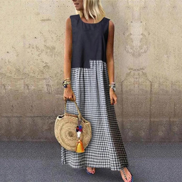 Casual Check Round Neck Sleeveless Splicing Dress