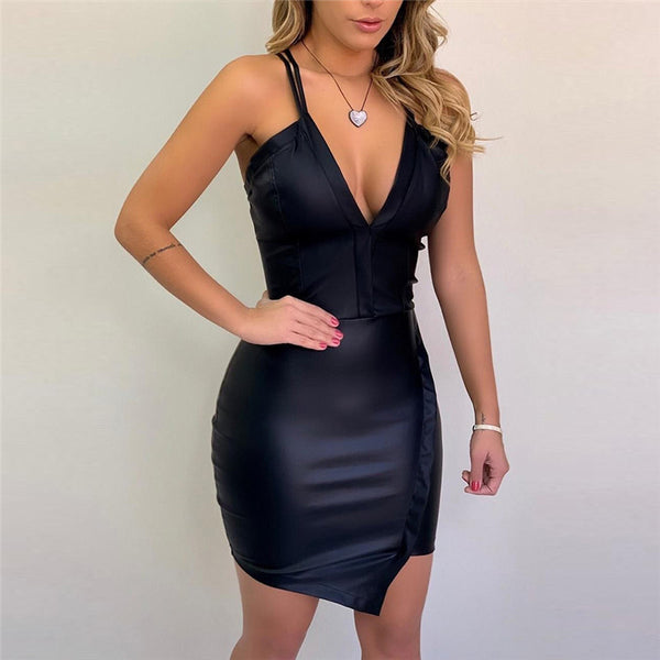 Sexy V-Neck Irregular Hem Leather Slip Bodycon Mini Dress