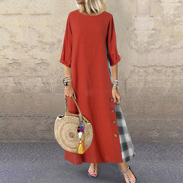 Casual Plaid Pure Colour Bracelet Sleeve Round Neck Dress