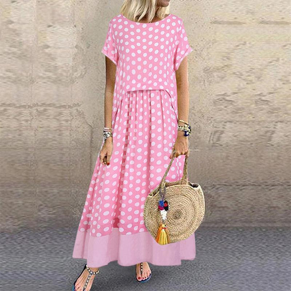 Sweet Polka Dot Round Neck Short Roll-Up Sleeve Dress