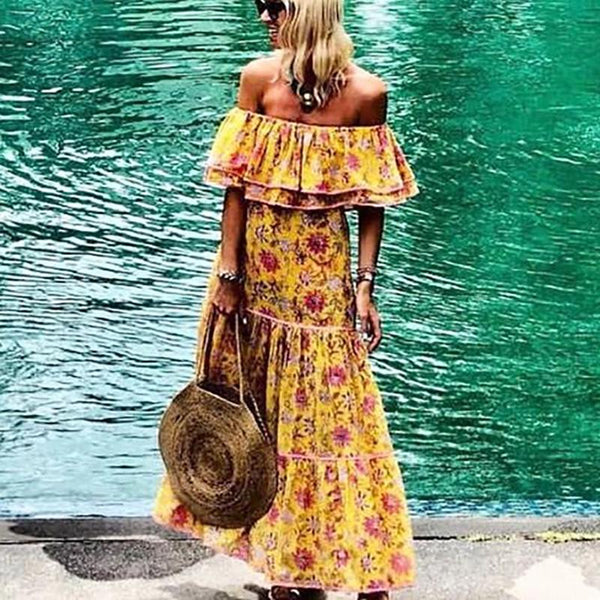 Vacation Floral Print  Off Shoulder Ruffle Splicing Maxi Dress