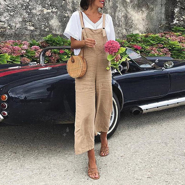 Fashion Casual Solid Color Sling Trousers