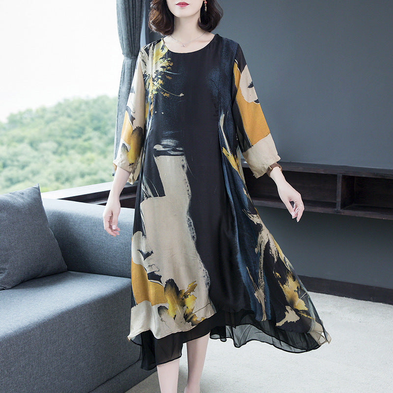 Socialite Long  Sleeve Round Neck Printed Color Dress