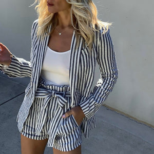Fashion Folded Collar Stripe Printed Top Shorts Suits
