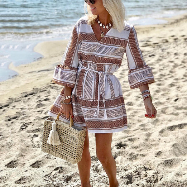 Boho Pop Printed V-Neck Belt Tie A-Line Dress