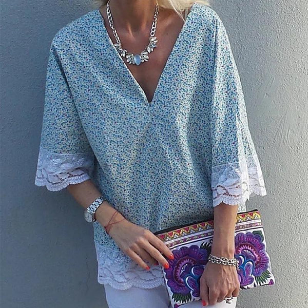 Fashion V Neck Printed Colour Inwrought Short Sleeve Blouse