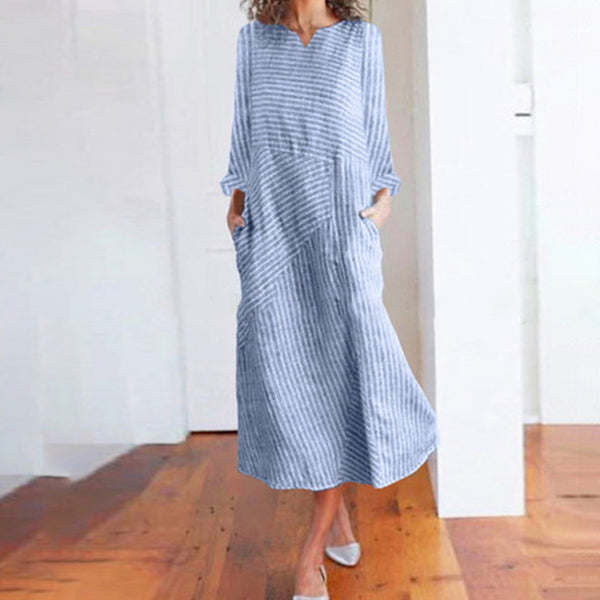 Women Casual V-Neck Long Sleeve Striped Loose Dress
