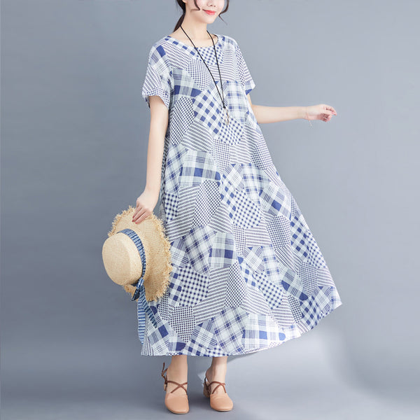 Casual Round Neck Short Sleeve Printed Colour Loose Splicing Dress