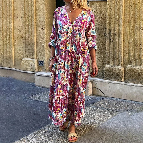 V Neck Long Sleeve Ankle-Length Printed Colour Loose Dress