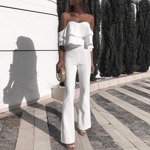 Sexy Tube Top Stacked Ruffled Jumpsuits