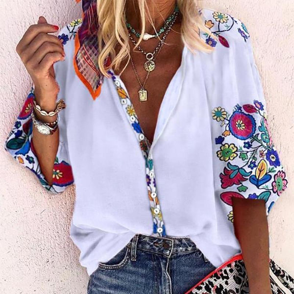 Fashion V Neck Printed Colour Inwrought Blouse