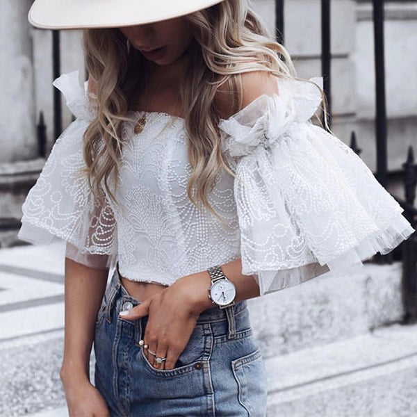 Sweet Boat Neck Pure Colour Off-Shoulder Short Sleeve Blouse