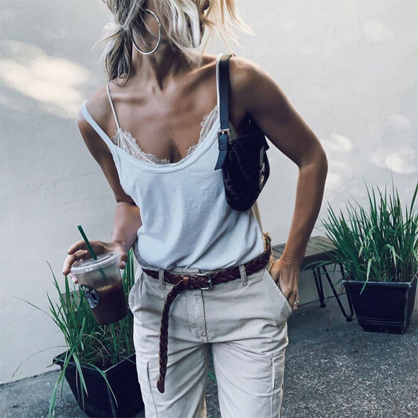 Women Sexy Sling Shoulder Out Plain Lace Splicing Top