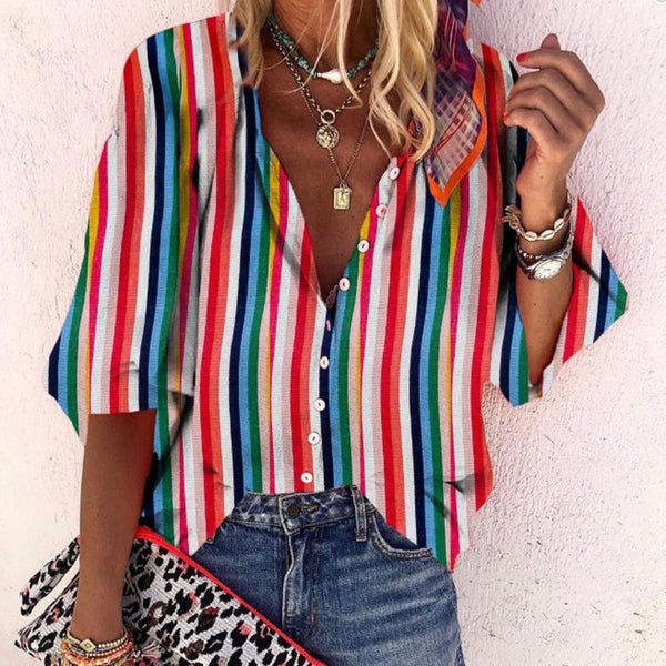 Casual Vertical Striped With Buttons Bracelet Sleeve Shirt