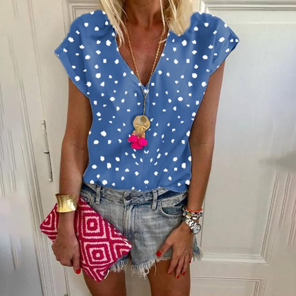 Casual V Neck Printed Colour Short Sleeve Loose Top