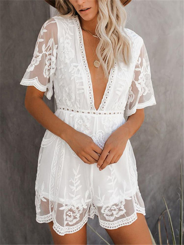 Sexy Deep V Mesh Lace Panel Flare Sleeve Jumpsuits