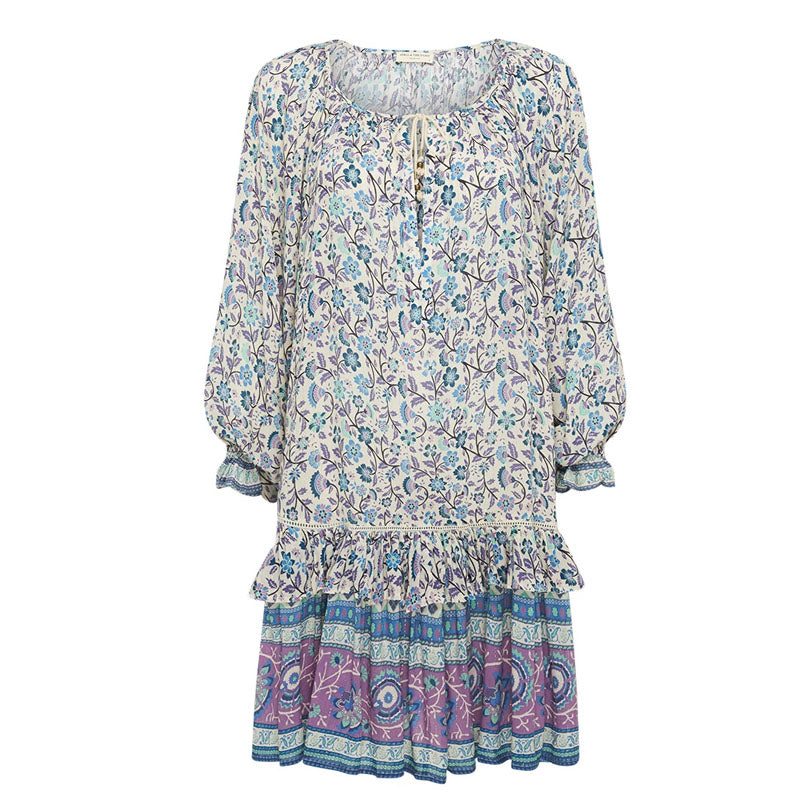 V Neck Petal Sleeve Printed Colour Ruffled Splicing Loose Dress