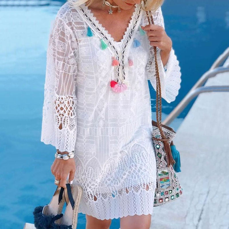 Lace V Neck Long Sleeve Tassel Hollow Out Dress