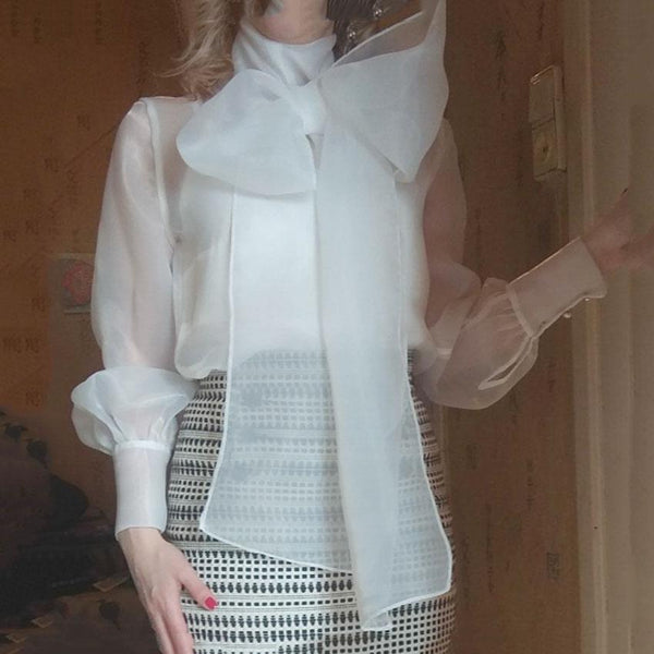 Perspective Bow Tie With Bubble Long Sleeve Organza Blouse Top