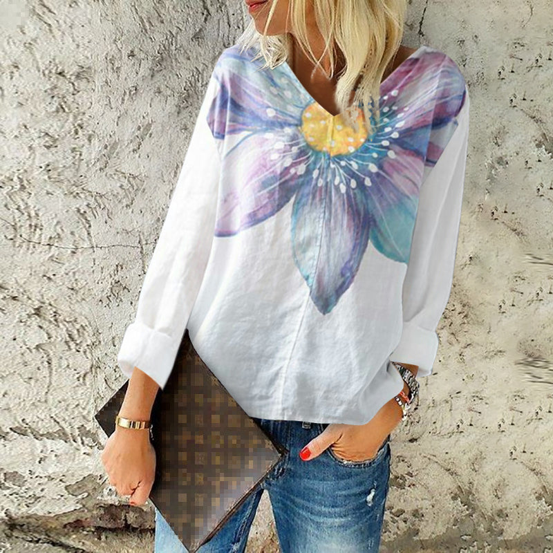 Casual Printed V Neck Loose Blouse
